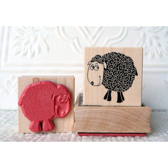 Bashful Sheep Rubber Stamp