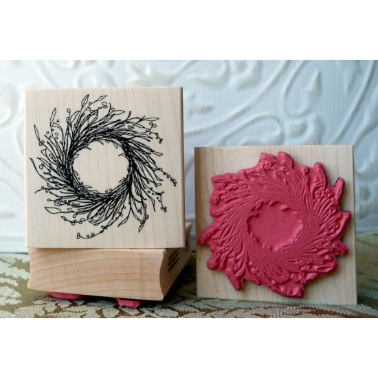 Rustic Wreath Rubber Stamp