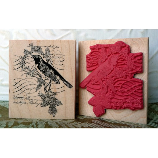 Story Bird Collage Rubber Stamp