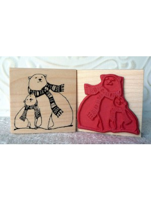Polar Bears Bonding Rubber Stamp