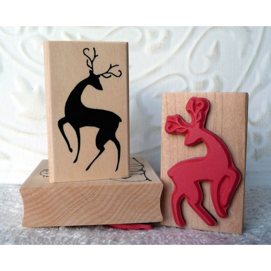 Silhouette Reindeer Rubber Stamp