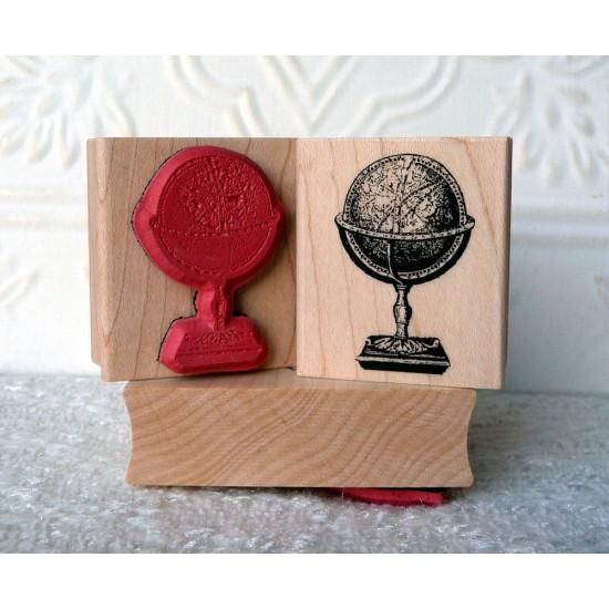 Vintage Globe Rubber Stamp