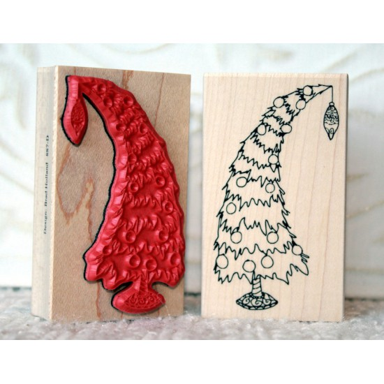 Heavy Holiday Christmas Tree Rubber Stamp
