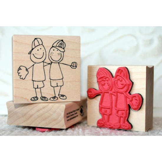 Buddies Boys Best Friends Rubber Stamp