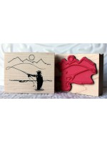 Serene Fly Fishing Rubber Stamp