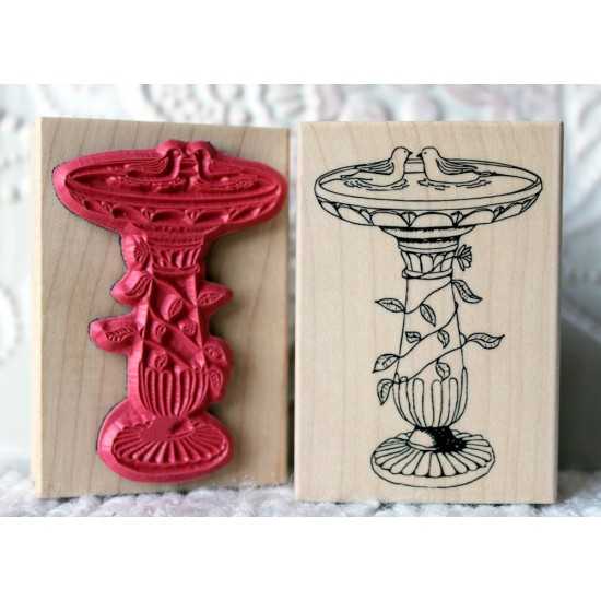 Bird Bath Rubber Stamp