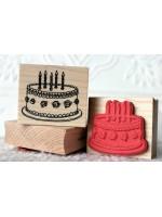 Rosette Birthday Cake Rubber Stamp