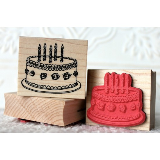 Rosette Birthday Cake Rubber Stamp