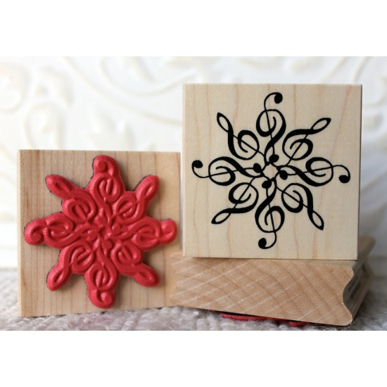 Melodic Snowflake Rubber Stamp