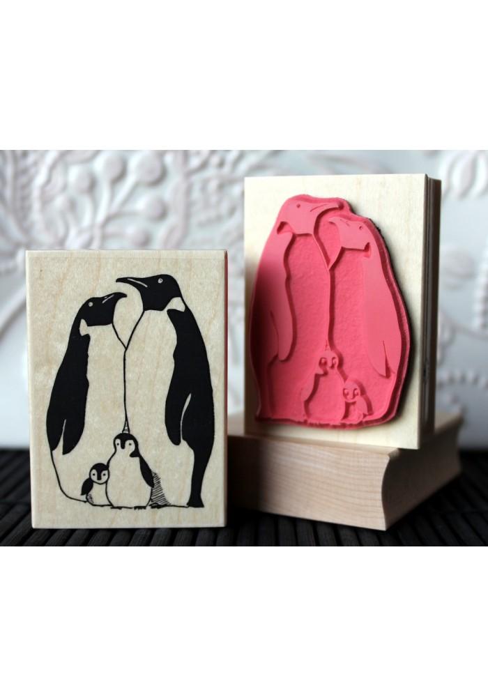 Penguin Family Rubber Stamp