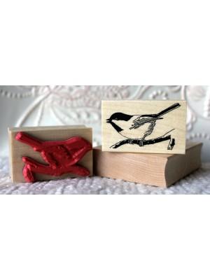 Little Chickadee Bird Rubber Stamp