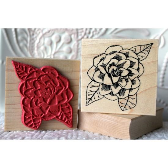Camellia Flower Rubber Stamp