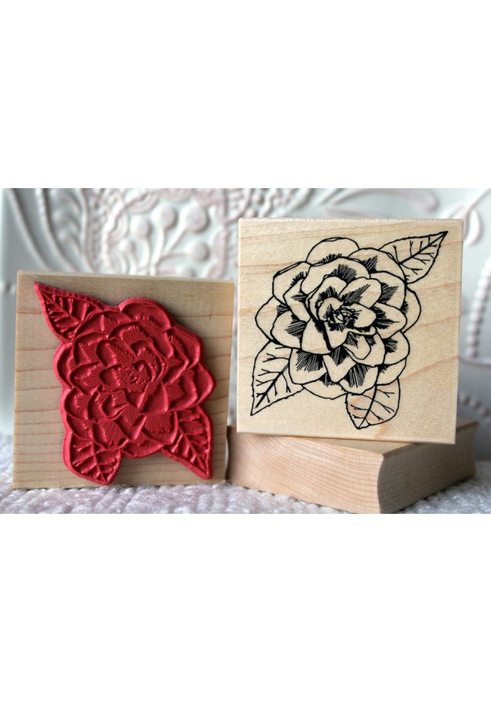 Camellia Flower Rubber Stamp