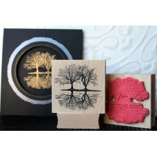 Winter Reflection Trees Rubber Stamp
