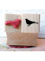 Silhouette Bird Perched Rubber Stamp