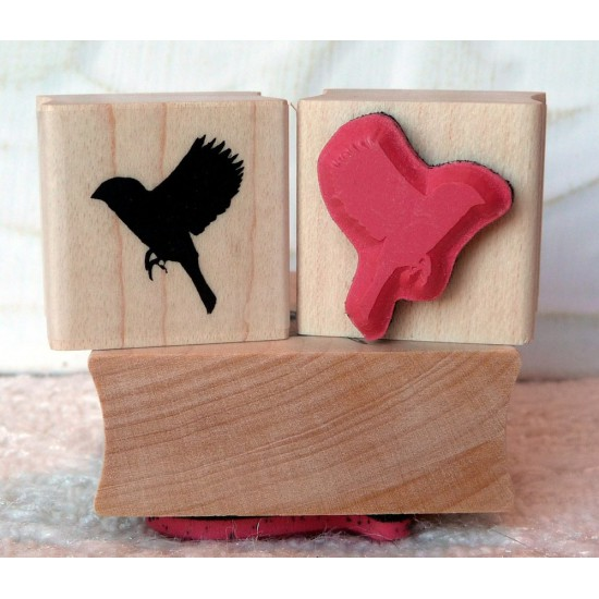 Silhouette Sparrow Landing Rubber Stamp