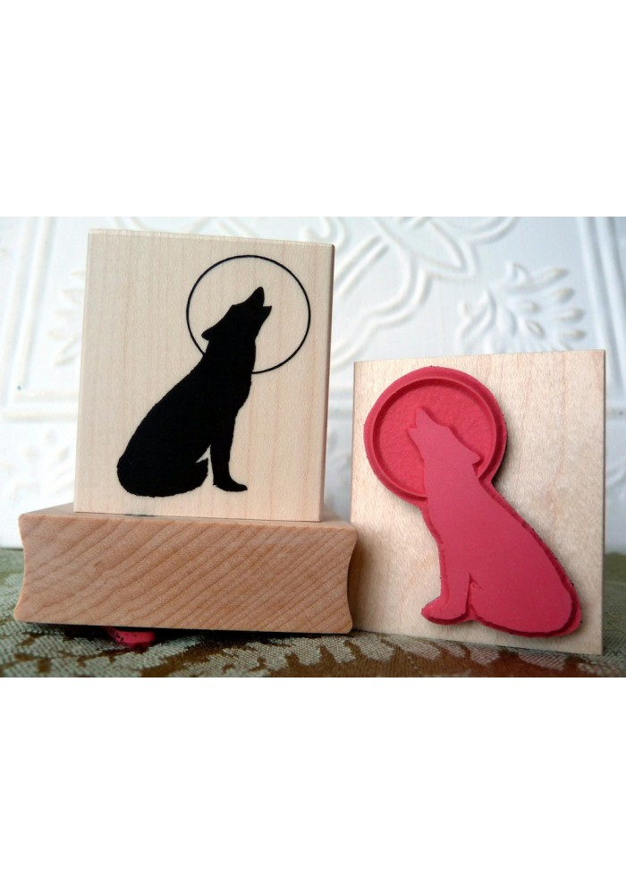 Howling Wolf Rubber Stamp