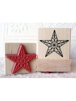 Curly Star Rubber Stamp