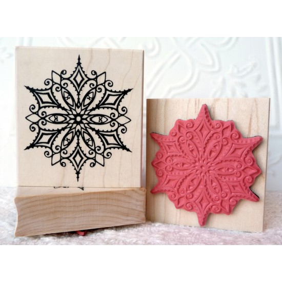 Floral Snowflake Rubber Stamp