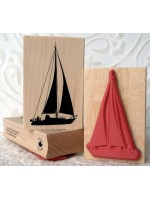 Silhouette Sailboat Rubber Stamp