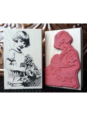 Vintage Girl with Flower Basket Rubber Stamp