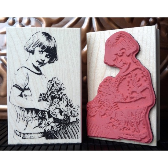 Vintage Girl with Flower Basket Rubber Stamp