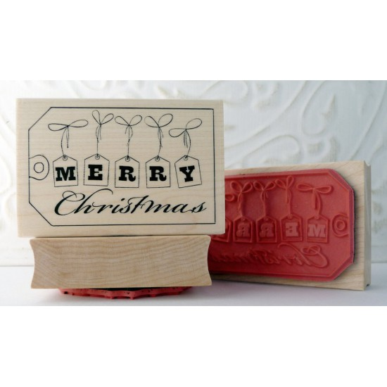 Merry Christmas Tag Rubber Stamp