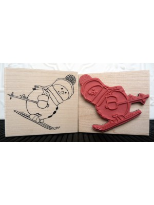 Downhill Snowman Rubber Stamp