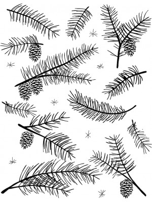 Fir and Pinecones Background Rubber Stamp