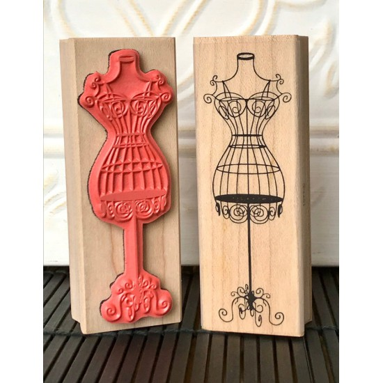 Bangkok Beauty Dress Form Rubber Stamp