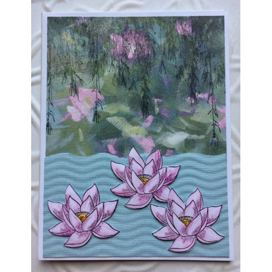 Lotus Flower Rubber Stamp