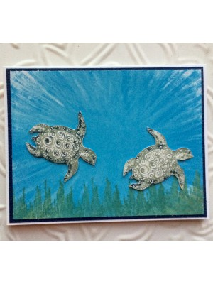Tropical Sea Turtle Rubber Stamp