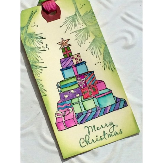 Gifts O'Plenty Christmas Tree Rubber Stamp