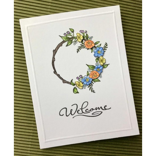 Floral Wreath Rubber Stamp
