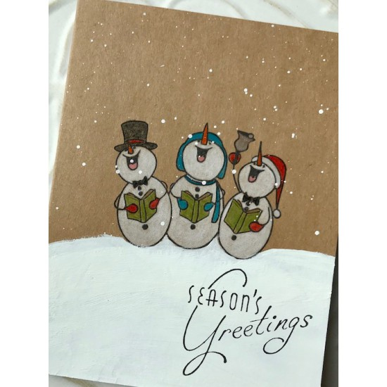 Snowman Choir Rubber Stamp