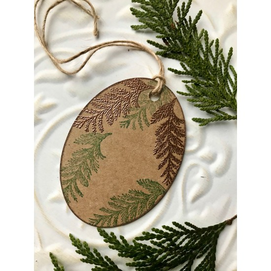 Small Cedar Branch Rubber Stamp