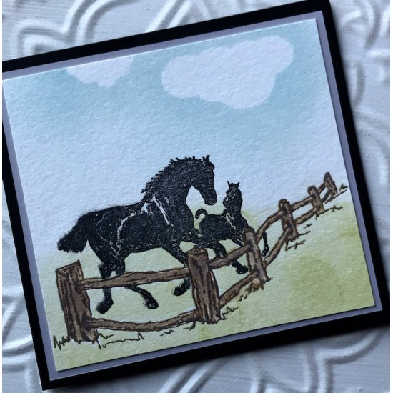 Rustic Fence Rubber Stamp