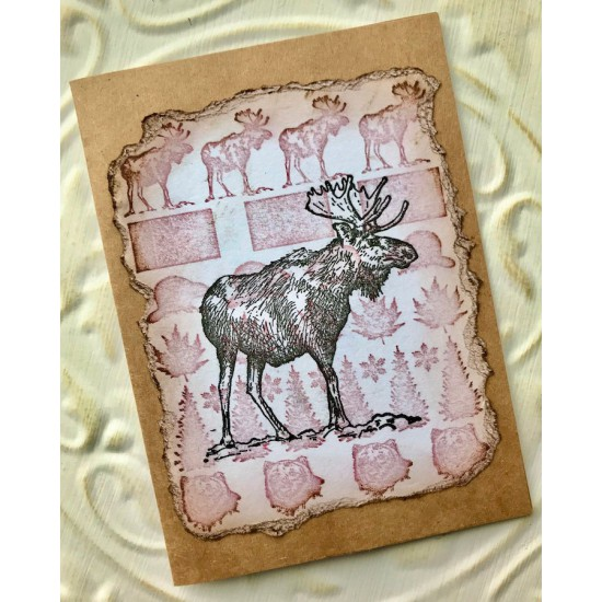 Canadiana Background Rubber Stamp