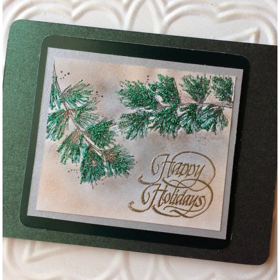 Happy Holidays Script Rubber Stamp