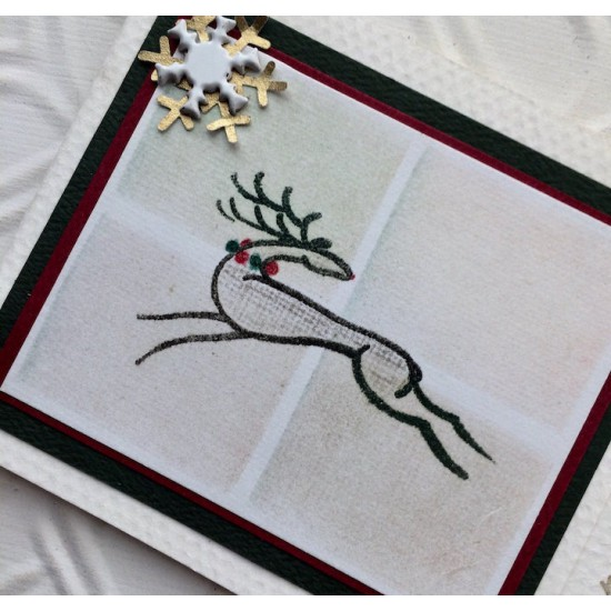 Stylized Reindeer Rubber Stamp