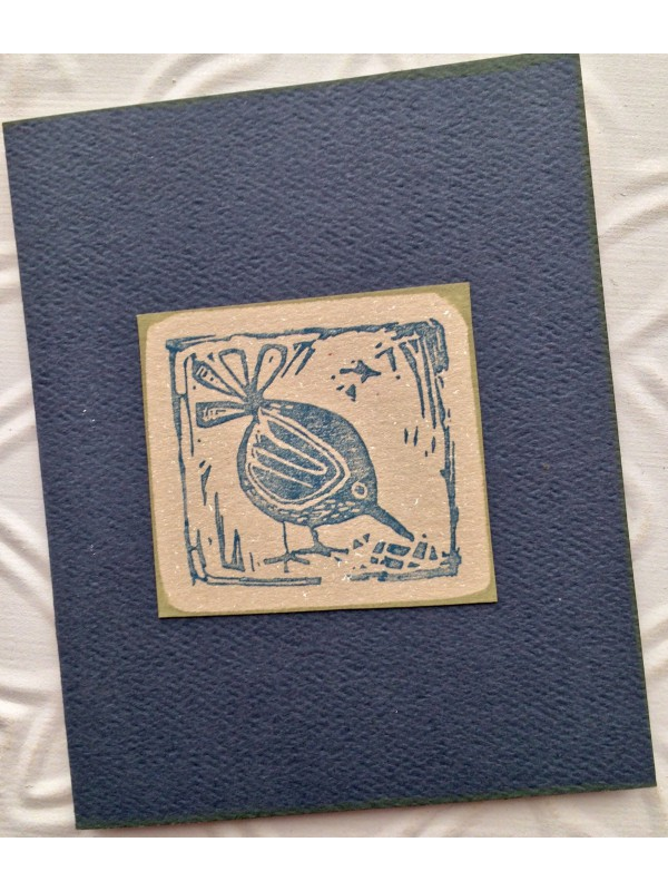 Block Print Bird Rubber Stamp
