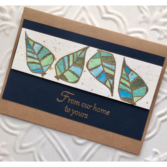 Retro Leaf Rubber Stamp