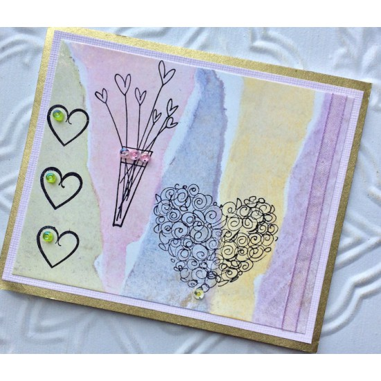 Rosette Heart Rubber Stamp