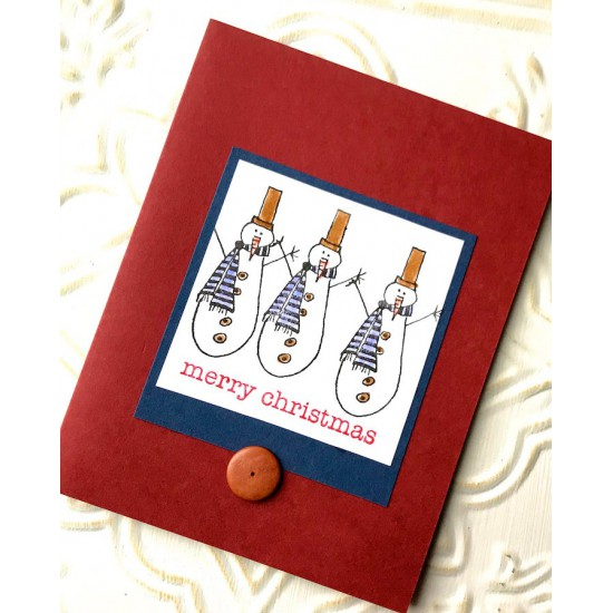 Skinny Snowman Rubber Stamp