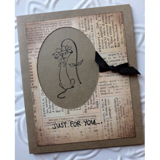 Garden Mouse Rubber Stamp