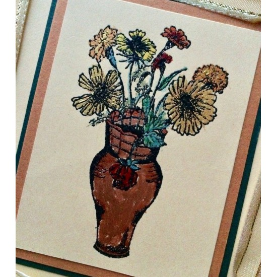 Flower Vase Rubber Stamp