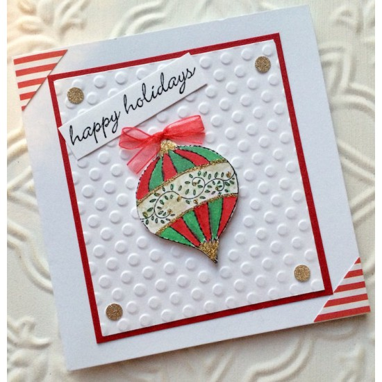 Fine Lined Christmas Ornament Rubber Stamp