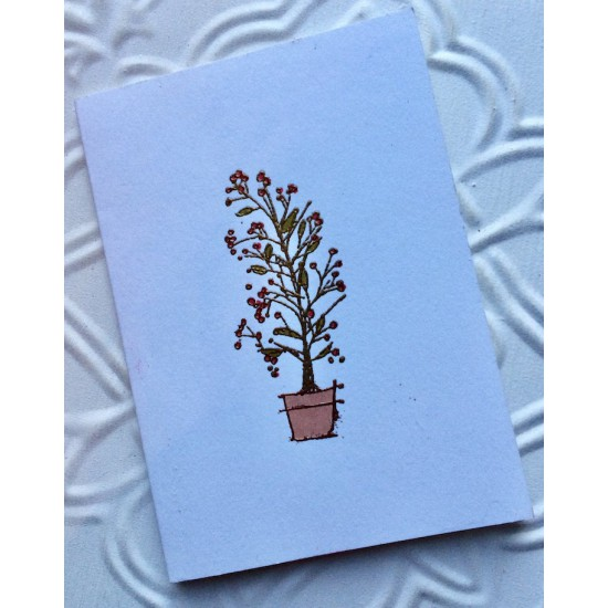 Potted Berries Christmas Tree Rubber Stamp