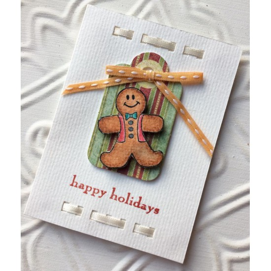 Little Happy Holidays Rubber Stamp