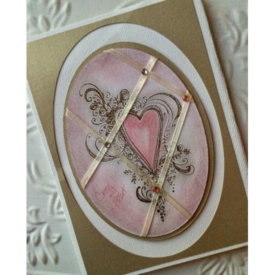 Fancy Heart Rubber Stamp